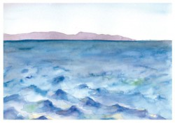 Coastal Profile, San Clemente Island Naval Weapons Testing Range, Channel Islands, CA Watercolor and pencil on paper (Hillary Mushkin, 2012)
